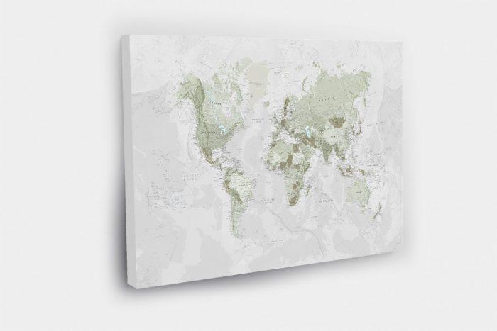 Šviesios žalios spalvos žemėlapis ant drobės