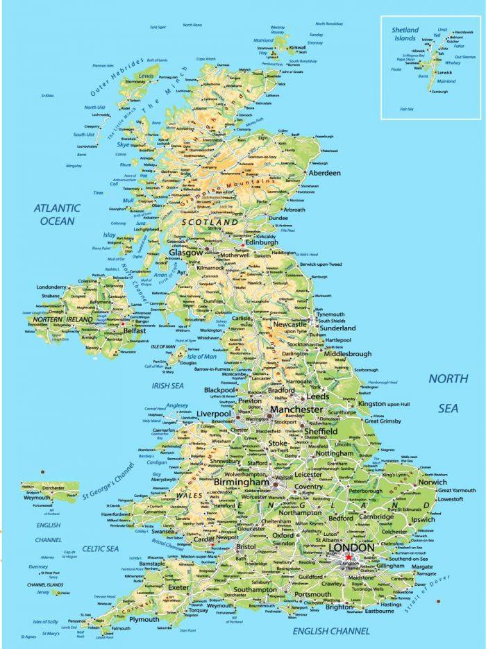 Jungtinės Karalystės žemėlapis