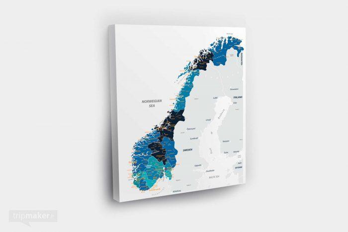 Norvegijos žemėlapis ant drobės