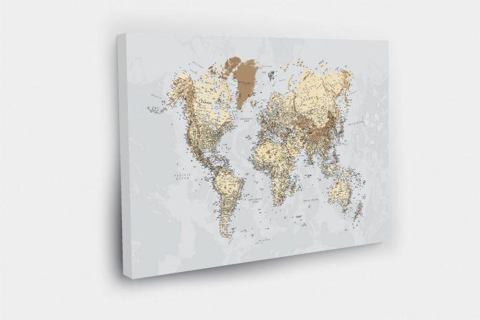Žemėlapis ant drobės su smeigtukais aplankytoms vietoms žymėti tripmaker.lt