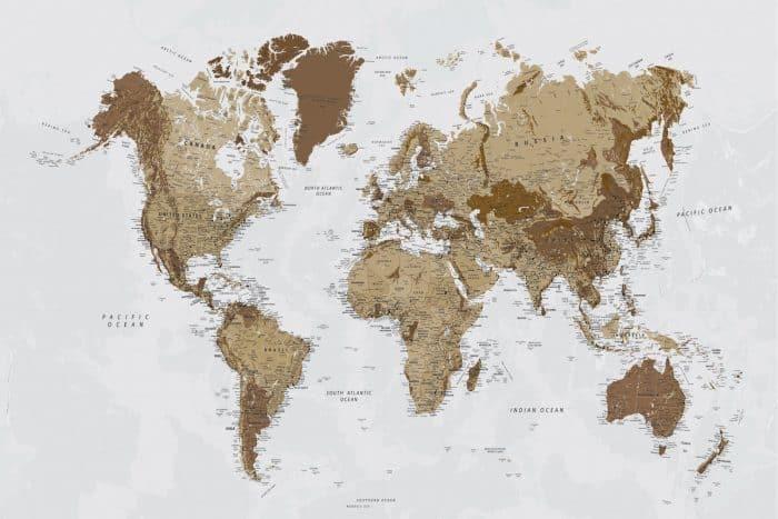 Kelionių žemėlapis ant drobės su smeigtukais rusvas