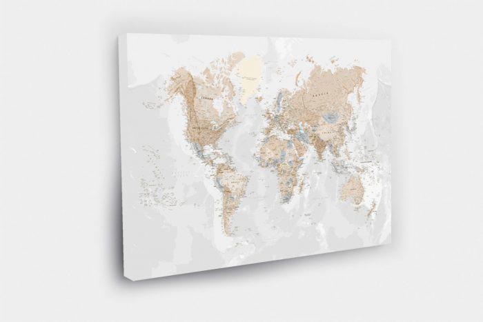 Kelionių žemėlapis ant drobės su smeigtukais detalus skandinavisko stiliaus (DETALUS)