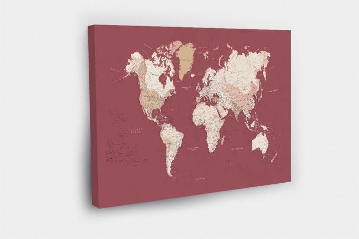 Raudonas pasaulio zemelapis ant drobes detalus (1)