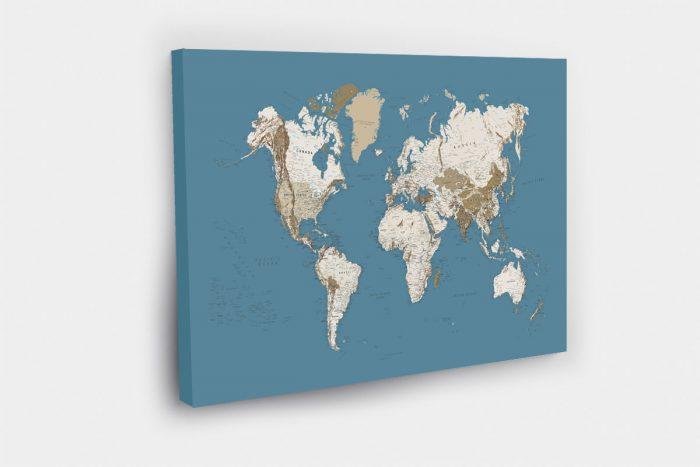 Mėlynas žemėlapis ant drobės (DETALUS)