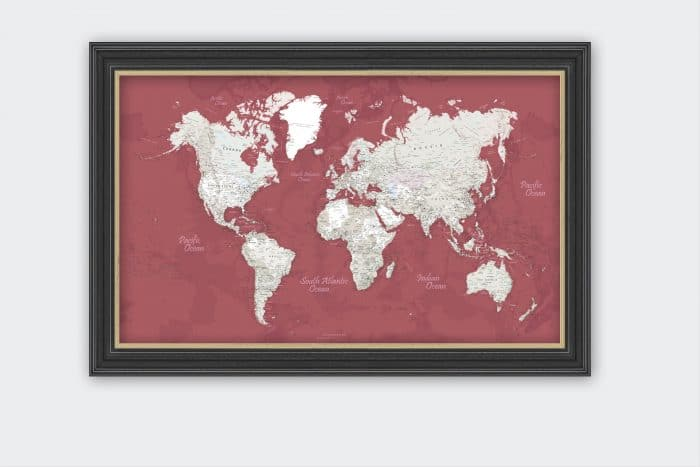 Raudonas Įrėmintas pasaulio žemėlapis