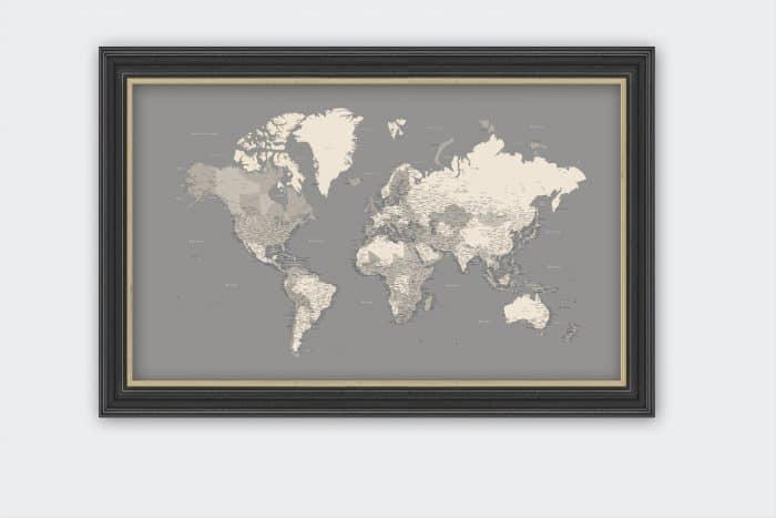 Pilkai rudas kelionių žemėlapis