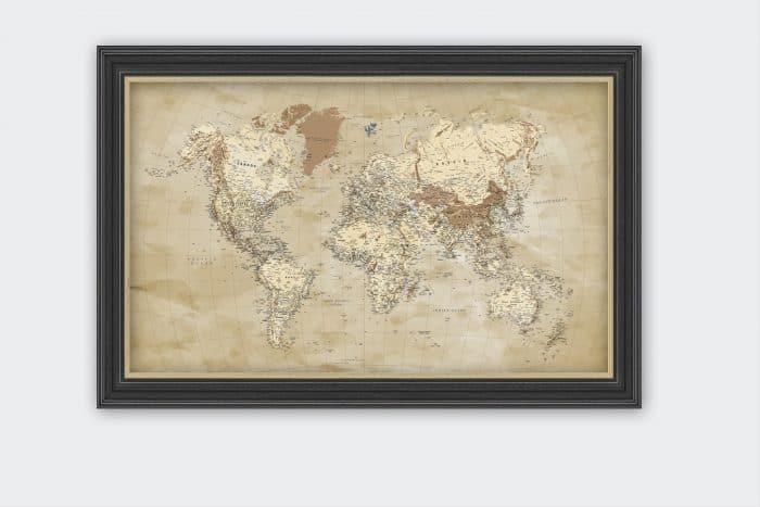 Rusvai gelsvas pasaulio žemėlapis