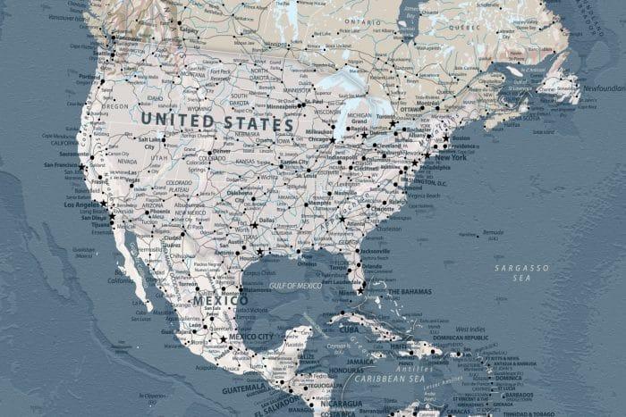Mėlynas žemėlapis aplankytoms vietoms žymėti