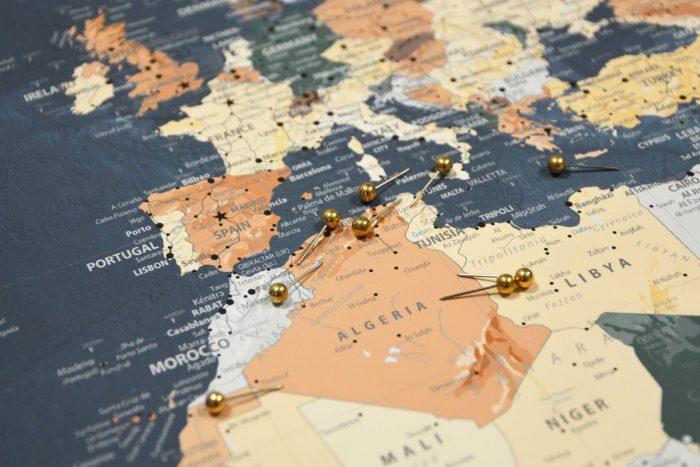 Pasaulio zemelapis melynas