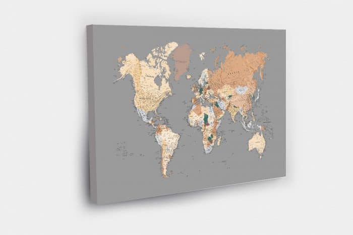 Grey Push Pin World Map,
