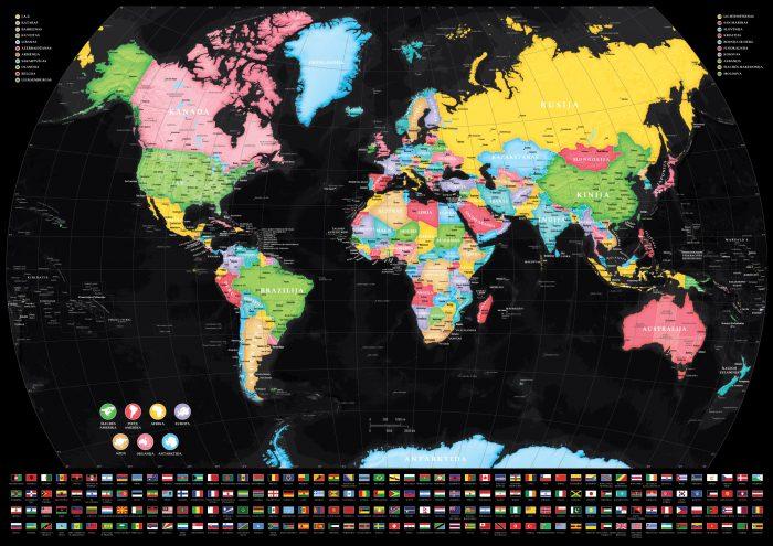 Žemėlapis ant drobės su smeigtukais lietuvių kalba