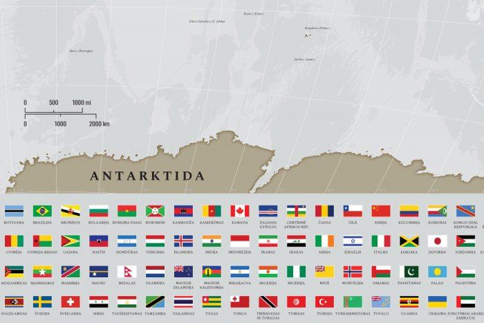 Rusvas žemėlapis ant drobės lietuvių kalba