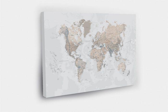 Pasaulio zemelapis ant sienos LIETUVIU KALBA rusvai rausvas