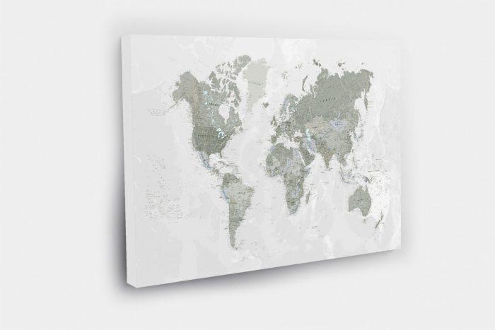 Žalias žemėlapis ant drobės